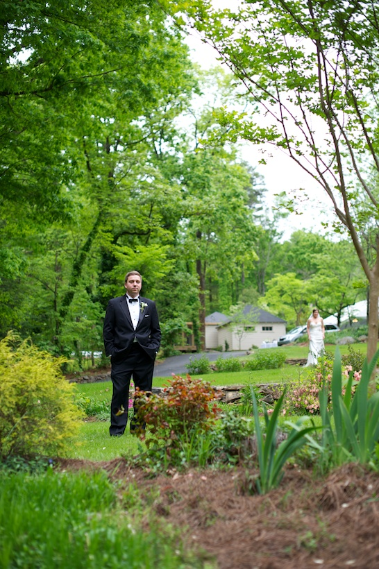 Wedding day photo by Elizabeth Glessner of Glessner Photography of the groom prior to the First Look at the backyard wedding of J.P. Perkins and Katherine Henry in Asheboro, NC