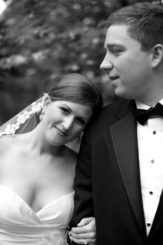 Wedding day photo by Elizabeth Glessner of Glessner Photography of the bride wearing a Jenny Lee wedding dress from Carine's Bridal in Washington DC and the groom in a Joseph A. Bank suit at the spring backyard wedding of J.P. Perkins and Katherine Henry in Asheboro, NC