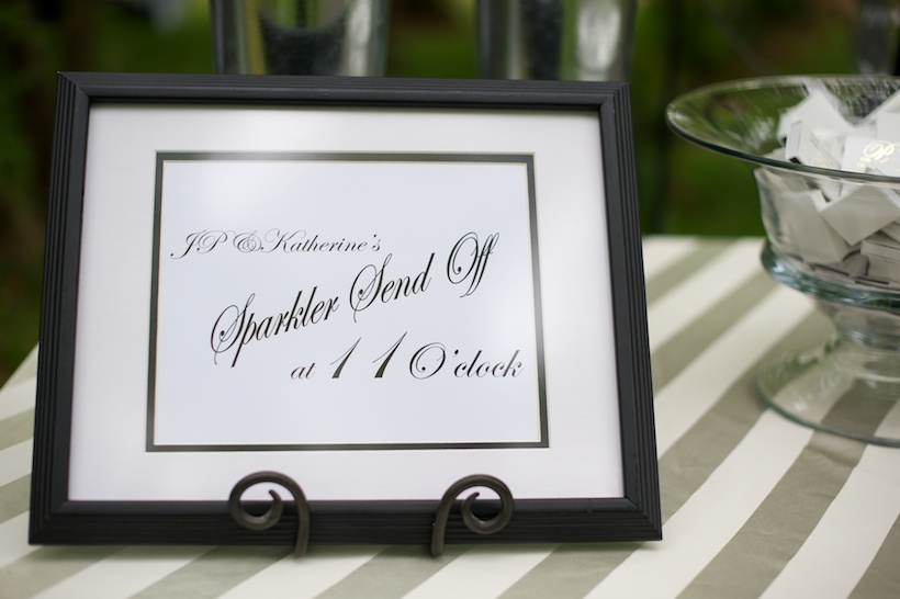 Wedding reception detail photo by Elizabeth Glessner of Glessner Photography of sparkler send off signage with event design by Nancy Cox of Simply Elegant Occasions at the spring backyard wedding of J.P. Perkins and Katherine Henry in Asheboro, NC