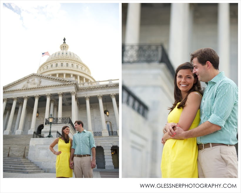 Courtney Flezzani and Andy Briggs Washington D.C. engagement session took place at the Capitol Building. Photo by Glessner Photography.