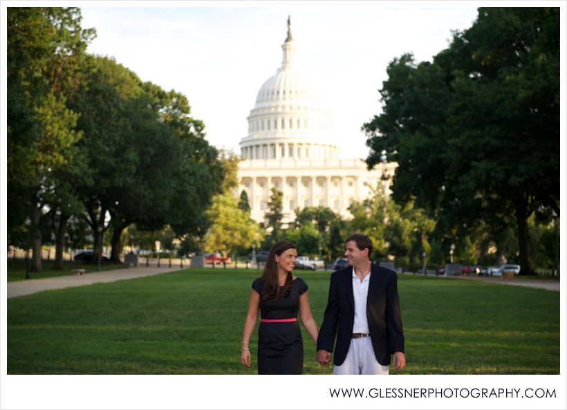 Courtney Flezzani (wearing a navy and pink Kate Spade dress from Rent the Runway) and Andy Briggs Washington D.C. engagement session took place at the Capitol Building. Photo by Glessner Photography.