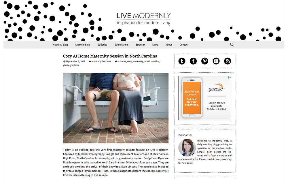 Bridget and Ryan's High Point, NC in-home maternity session featured on Modernly Wed's Live Modernly blog.