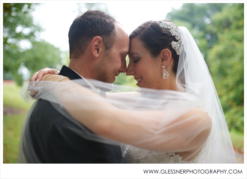 Photo of groom and bride Shane Goodenough and Jessica Derr at Old Salem in Winston-Salem, NC.