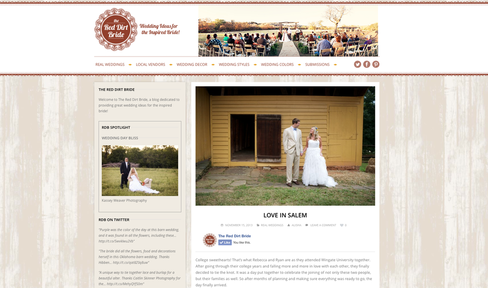 Becky Kochany and Ryan Thys' wedding at Old Salem in Winston-Salem, NC featured on The Red Dirt Bride blog.