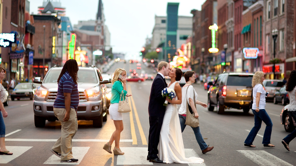 Brittany and Jeff's downtown Nashville wedding on Broadway