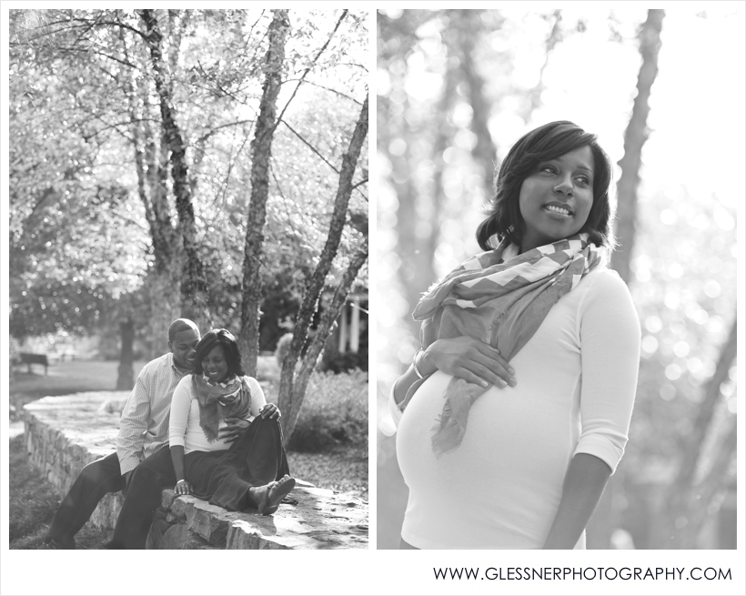 Expectant parents Kamisha and Adrian pose for their maternity portraits taken by High Point-based family photographer Glessner Photography at Tanger Family Bicentennial Gardens in Greensboro.