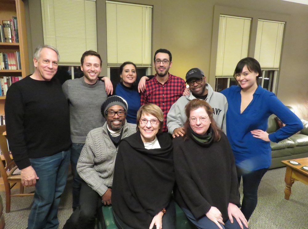 From left to right, Philip Himberg, Benjamin Velez, Billy Porter, Jumana Al-Yasiri, Mame Hunt, Kamal Khalladi, Kurt Carr, Theresa Rebeck and Leah Nanako Winkler