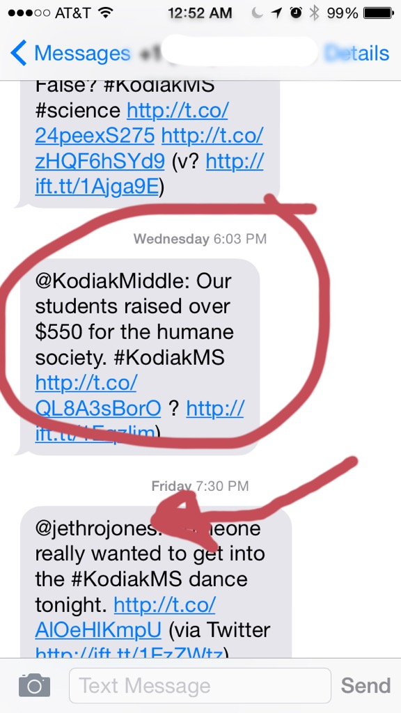 Same post is then texted to me (circled), and then you can see that any post with #KodiakMS comes to me, even from a different user.