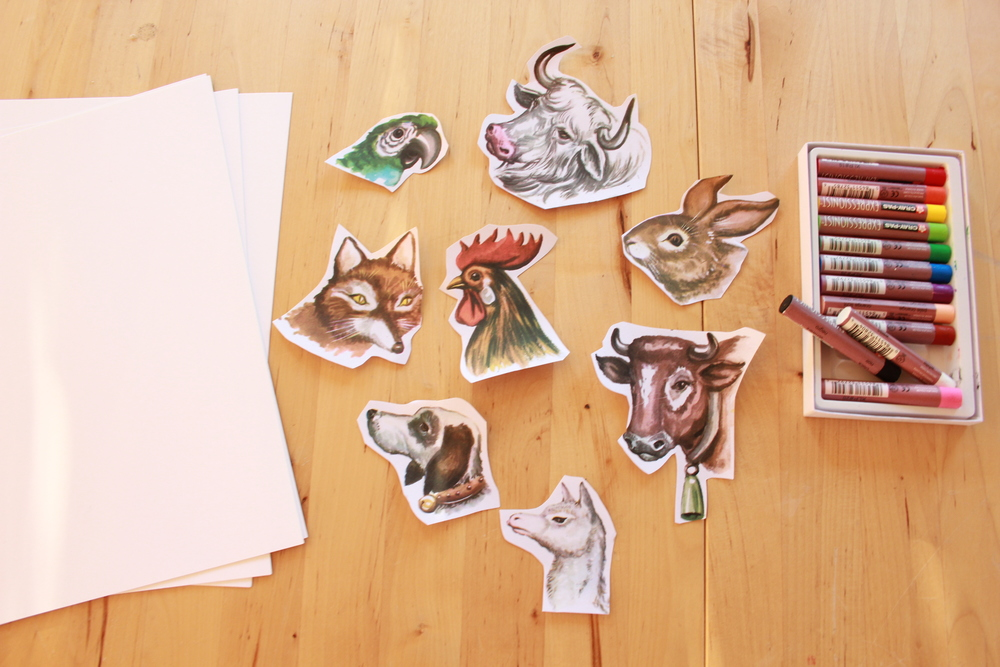 cardstock + animal heads + illustration medium of your choice