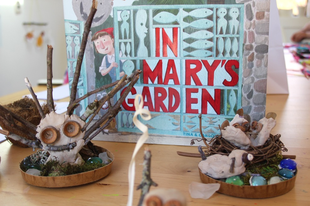 outdoor sculpture with natural materials inspired by mary's garden in fox point, wisconsin