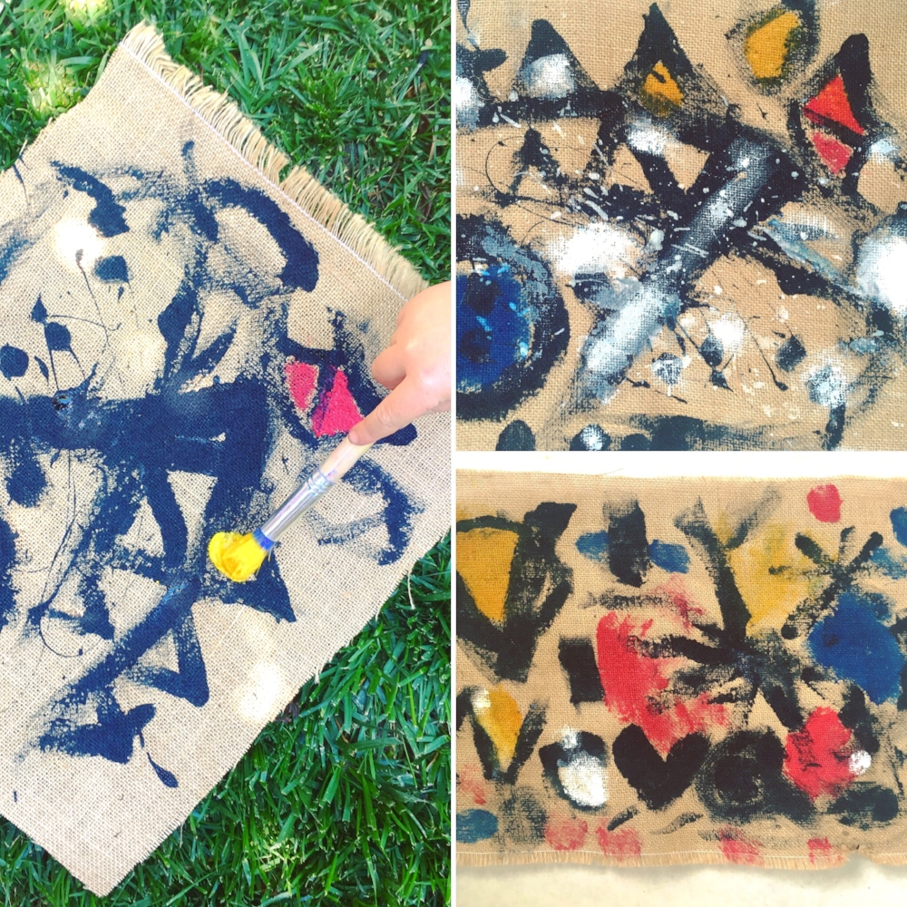 Adding shapes and painting movement created modern burlap canvases with joyful energy.