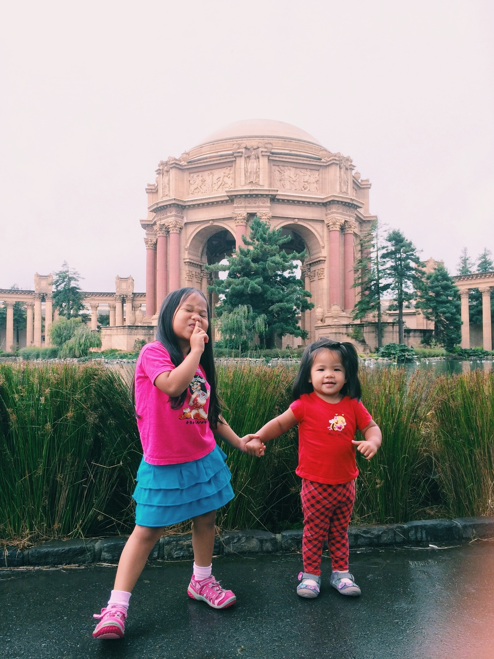 Mia and Graecyn at the Palace of Fine Arts. Photo taken by Farrah using the iPhone 5S