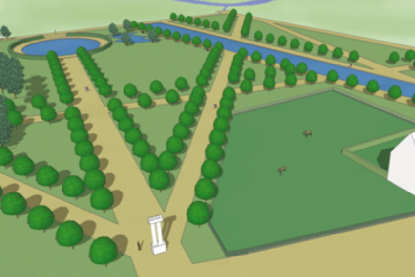 We produced a visualisation of the lost Switzer garden based upon our earlier analysis.