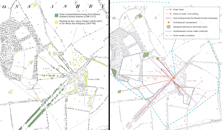 Analysis of historic mapping enabled a clear understanding of historic planting patterns and views.