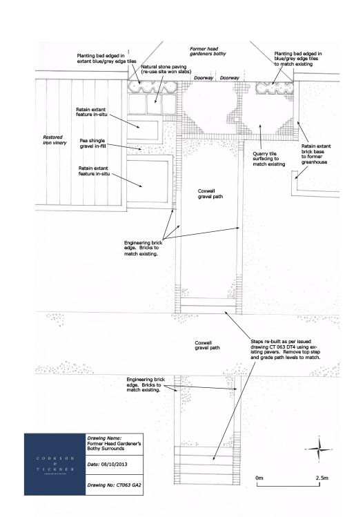 Detailed design drawing for the Gardener's Cottage area.