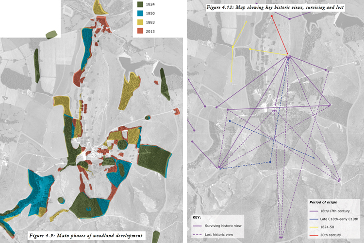 Analysis of woodland and views, demonstrating how these have changed over time.