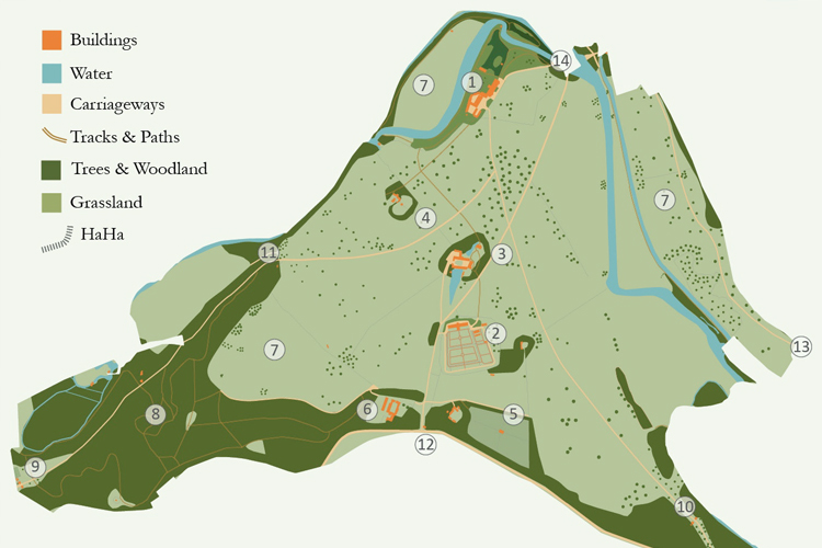 Graphic overlay analysis enabled us to understand the park's evolution.