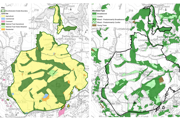 GIS was used to map designations and management issues, such as land use and woodland distribution.