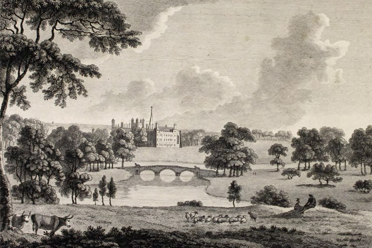 1780 engraving of the Lancelot Brown landscape