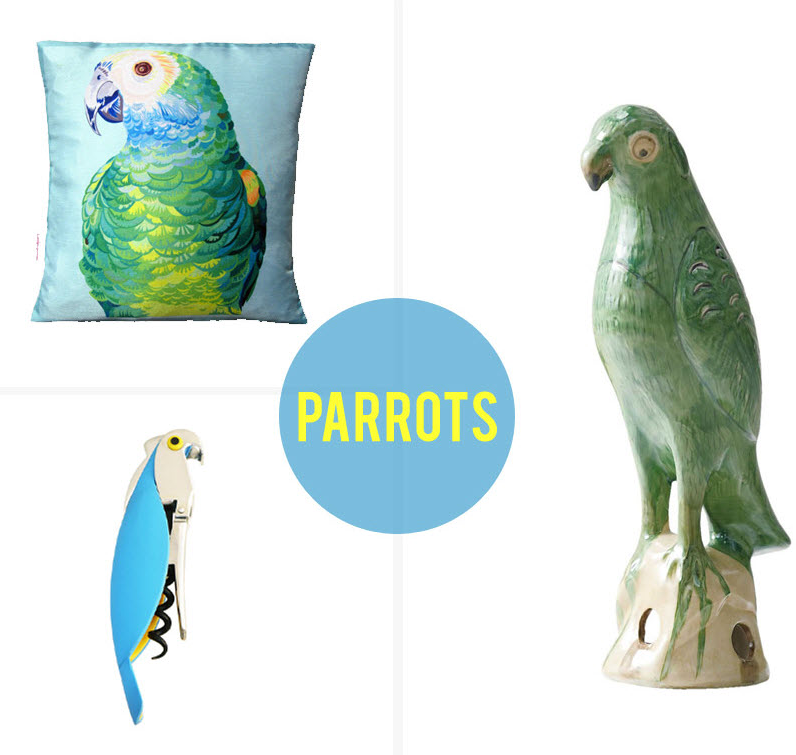 Clockwise: Chloe Croft silk cushion (45cm), $88,  Everything Begins . Hand-painted porcelain Emperor Parrot (28cm), $49.95,  Domayne Online . Alessi corkscrew in Blue, $71,  Peter's of Kensington .