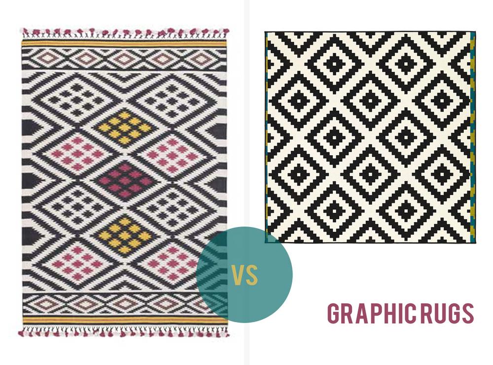 Bazaar floor rug(160 x 230cm), $449,  Freedom versusLAPPLJUNG RUTA (200 x 200cm), $99,  IKEA .