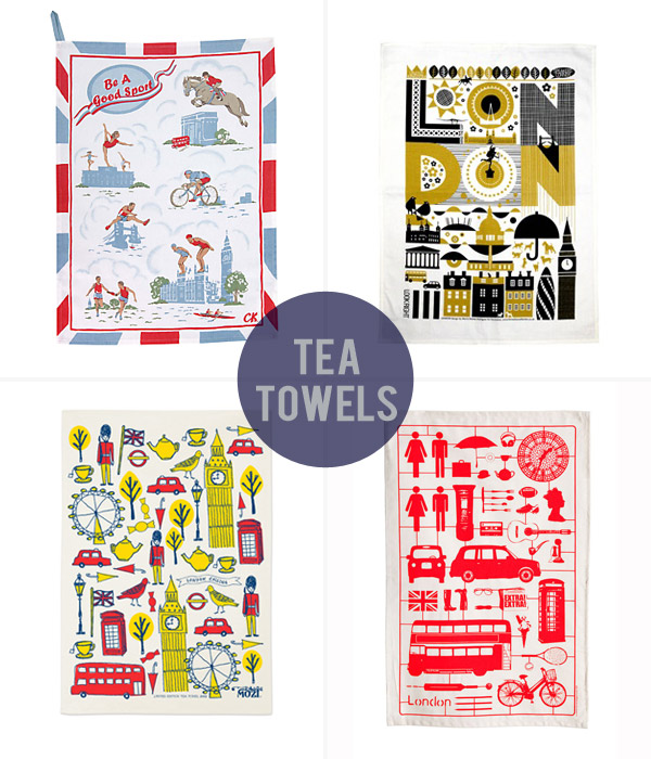 Clockwise: Cath Kidston Be A Good Sport tea towel (50 x 70cm), £10, John Lewis. London tea towel (48 x 78cm), £12, Transport for London. Airfix London tea towel (48 x 76cm), $15, Victoria Eggs on Etsy. Limited edition 'London Calling' tea towel (50 x 70cm), $19.95, Mozi.