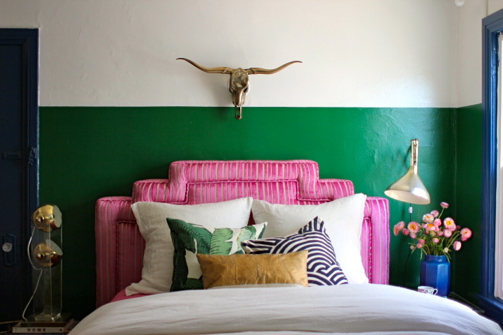 Guest room painted green
