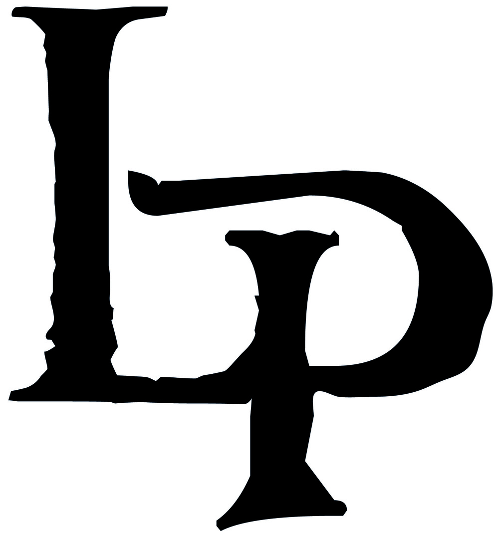 LP Black Letters on White Background