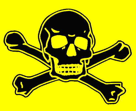 Black Skull on Yellow Background