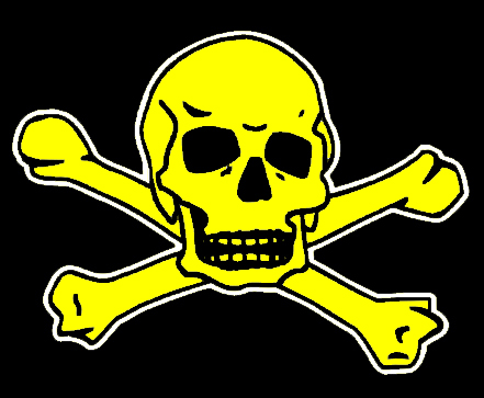 Yellow Skull on Black Background