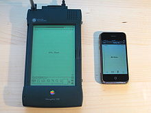 The early Apple PDA and the first iPhone from 2007. (Wikipedia)