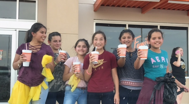 Celebrating spirit with drinks furnished by Whataburger.