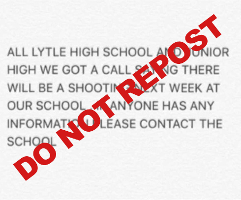 "Lytle ISD added the words, ""DO NOT REPOST"" to this screenshot of the post that is under investigation."