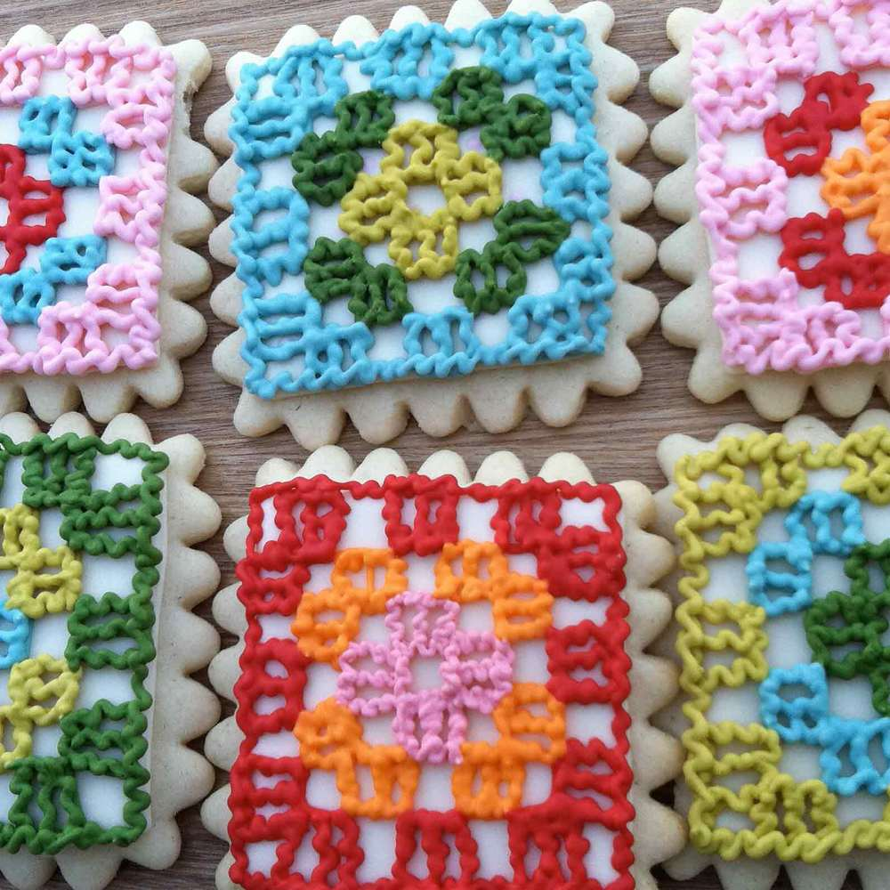 Crocheted Granny Square Cookies