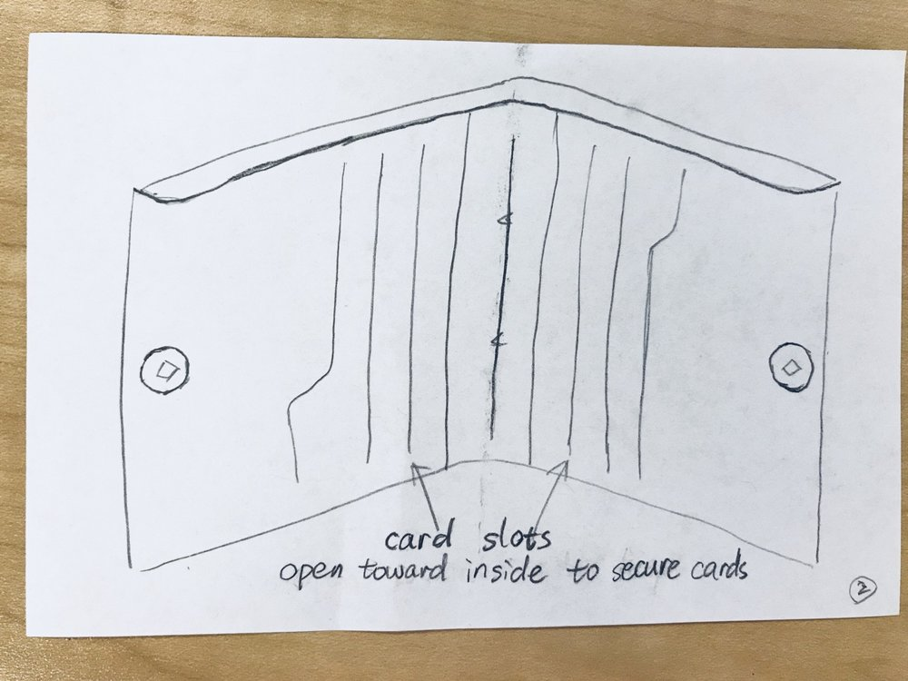 Change the opening direction of card slots from outward to inward helps cards stay inside the wallet.