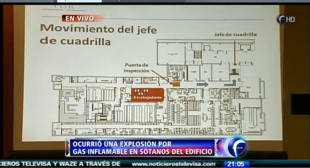 Croquis del edificio B2 presentado en la conferencia de prensa de la PGR el día de la explosión.