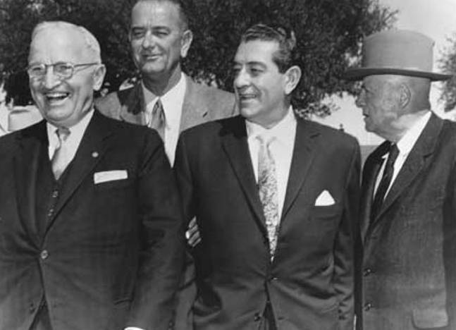 Harry Truman, Lyndon Johnson, Adolfo López Mateos y Dwight Eisenhower