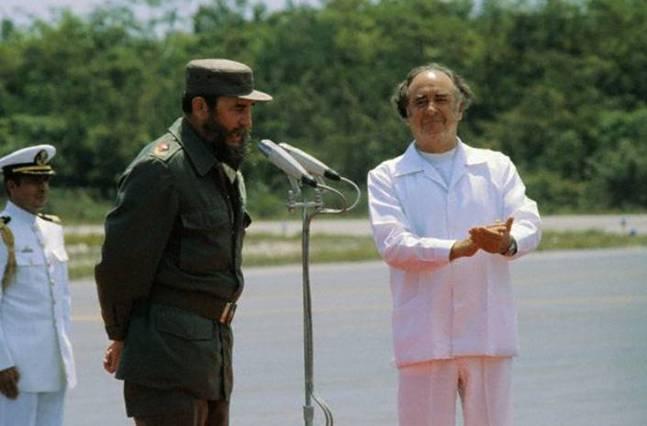 Fidel Castro y José López Portillo