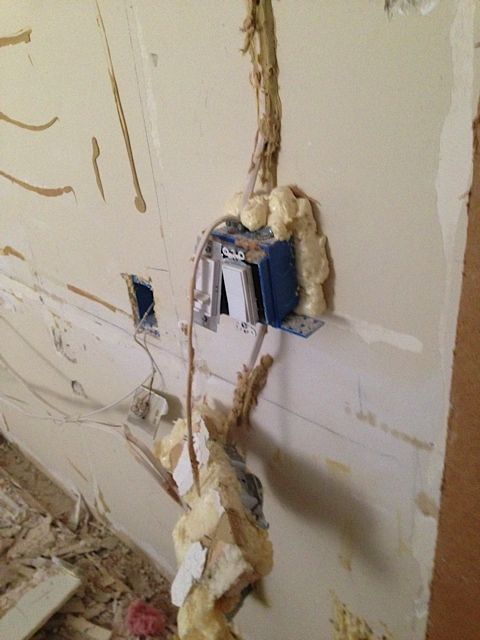 Weird gunk over the electrical outlet. Who knew the hung from the ceiling in residential buildings. And more gunk!