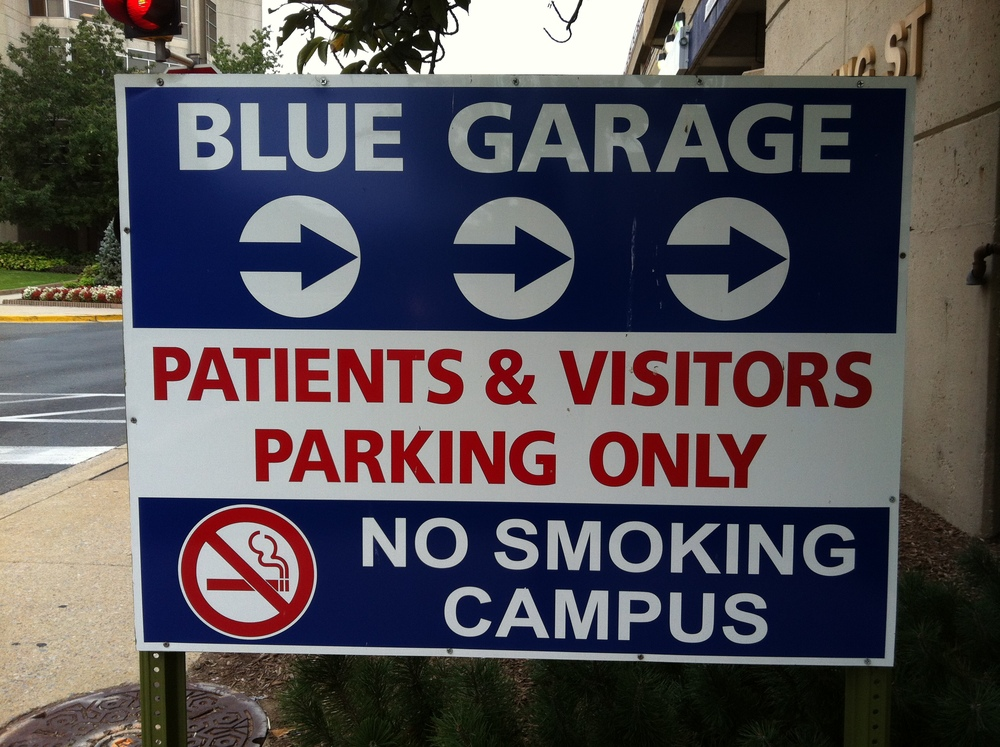 the Blue Garage is located across from the ADULT Emergency Room entrance