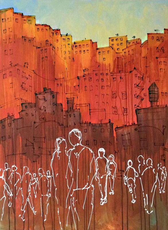 """Shared Path 40"""" x 30"""" Acrylic on Canvas 2012 4700.00 USD"""