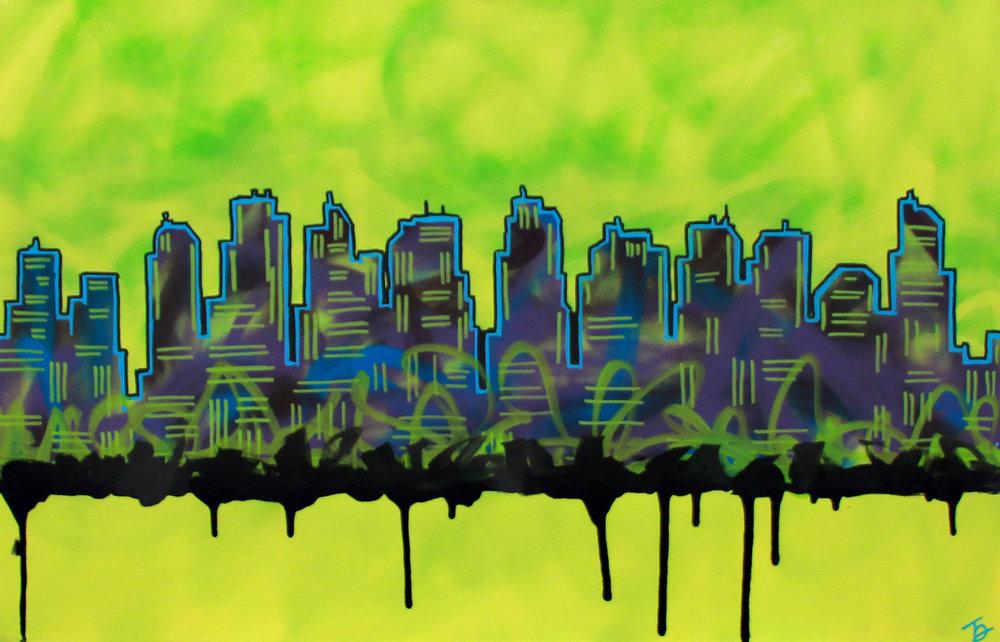 "City Tag Original Artwork 24"" x 36"" Spray paint, stencil &acrylic on canvas 2016 950.00"