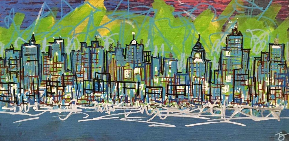 """City Spark 12"""" x 24"""" Acrylic on Canvas 2016 650.00"""