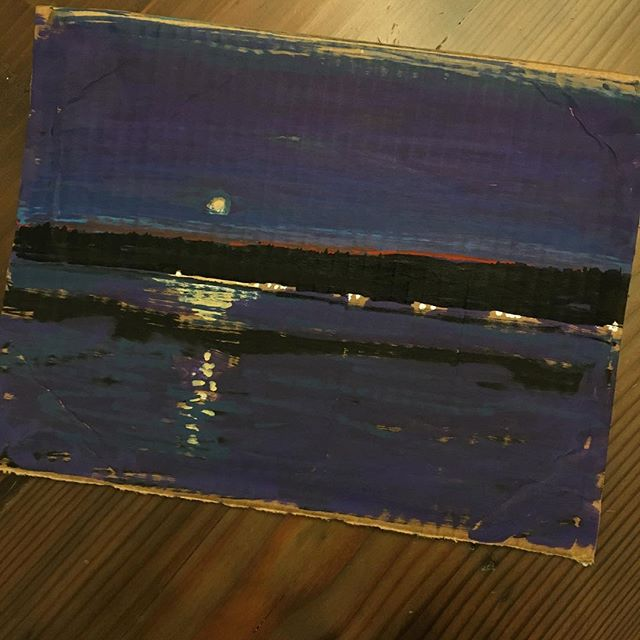 Spent the weekend at Hood Canal  watching the moonrise and had to sketch it on some scrap cardboard with my markers. I plan to turn this into a larger oil painting in the near future. . . . . #tonytaj #art #painting #night #moon #abstractart #graffiti #sketch #molotow #blackbook #markerart