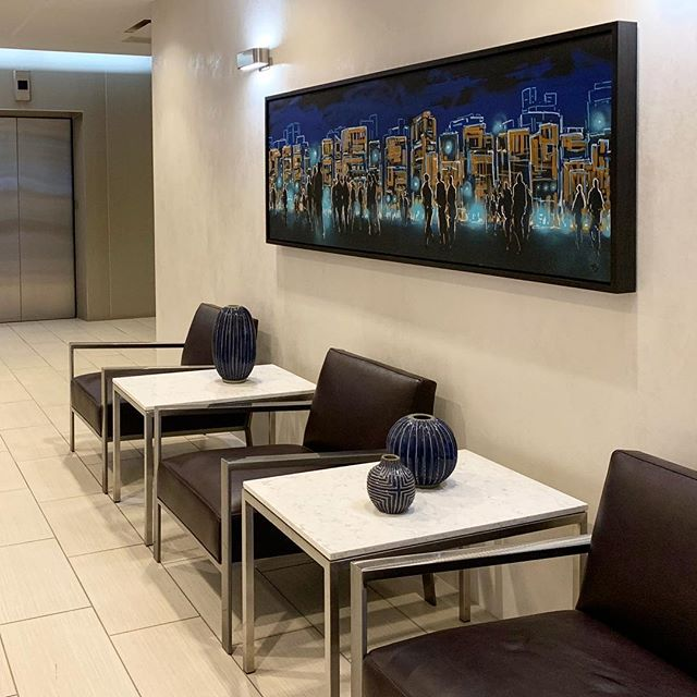 This piece was commissioned as part of a remodel of the AGC building in South Lake Union. Always fun working with designers to create the perfect installation. . . . . .  #tonytaj #cityscape #art #painting #graffiti #markerart #acrylicpainting