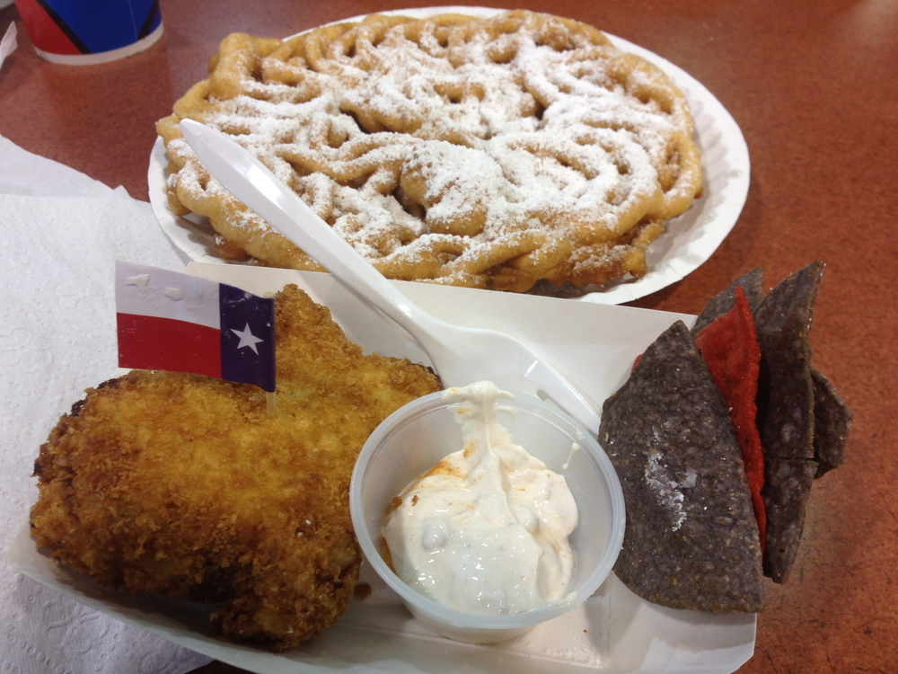 Bottom: New for 2013, Fried King Ranch Casserole Top: Fernie's Funnel Cake from The Dock