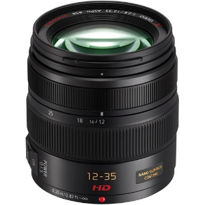 The next piece is the Panasonic Vario 12-35HD f/2.8 lens with power optical image stabilization. Coverage is equivalent to the 24-70 on a full frame 35mm