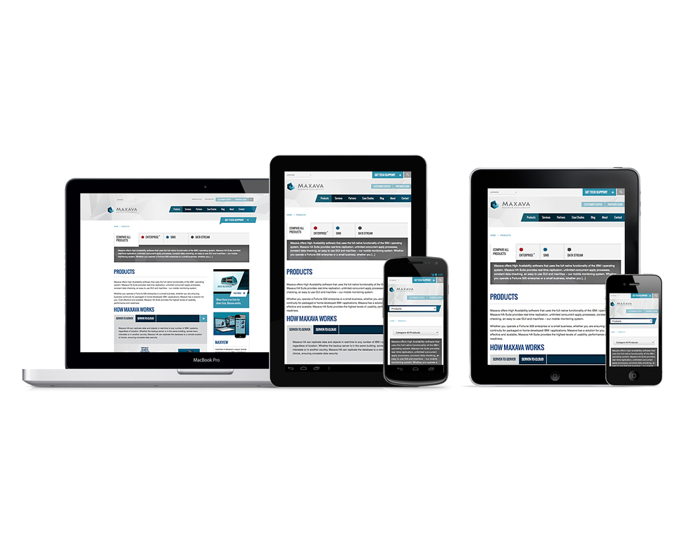 Maxava gets a new responsive website design | Products page