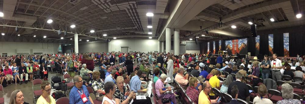 A panoramic view of the worship hall as the convention gathers for daily eucharist