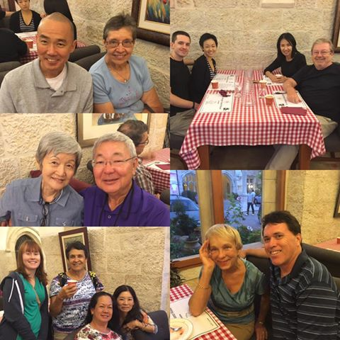 The pilgrims enjoy some time in the guest house of St. george's cathedral in jerusalem.